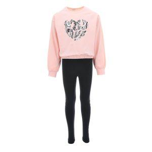 Σετ φόρμας για κορίτσια 6 έως 16 ετών. Ροζ μπλούζα με τύπωμα καρδούλα και μαύρο κολάν παντελόνι.