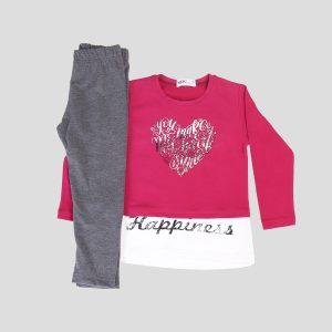 κοριστιστικη φόρμα με ροζ μπλουζάκι και γκρι παντελόνι