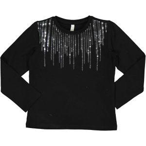 Μαύρο βρεφικό μπλουζάκι με στρασάκια